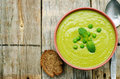 Soup puree of green peas Royalty Free Stock Photo