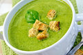 Soup puree with spinach leaves and croutons Royalty Free Stock Photo