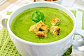 Soup puree with spinach leaves and spoon on napkin Royalty Free Stock Photo