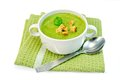 Soup puree with spinach and napkin Royalty Free Stock Photo