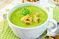 Soup puree with spinach and spoon on a napkin Royalty Free Stock Photo