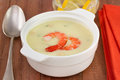 Soup with shrimps in the white Stock Image