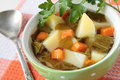 The soup of sorrel carrots and potatoes in a green bowl Royalty Free Stock Photography