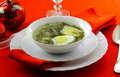 Soup with sorrel, potato and egg Royalty Free Stock Images