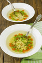 Soup with star shaped noodles carrots and green peas consomme Stock Photography