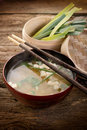 Soup with tofu and seaweed Royalty Free Stock Photo