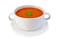 Soup tomato in white bowl with parsley Royalty Free Stock Photo