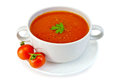 Soup tomato in white bowl with tomatoes Royalty Free Stock Photo