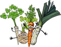 Soup vegetables group cartoon illustration of happy food characters Stock Photo