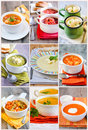 Soups nine different picture collage Royalty Free Stock Image
