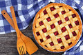 Sour cherry pie with pretty lattice top Royalty Free Stock Photo