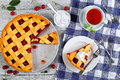 Sour cherry pie with whipped cream Royalty Free Stock Photo