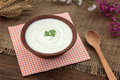 Sour cream in a bowl on a wooden table Royalty Free Stock Photo