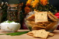 Sour Cream and Chive Flavored Crackers Stock Image