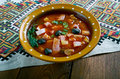 Sour russian soup seljanka a thick spicy and ingredient being either meat fish or mushrooms all of them contain pickled cucumbers Stock Image