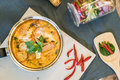Sour seafood soup or Tom Yum Seafood Royalty Free Stock Photo