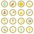 Sources of light icons circle