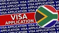 South Africa Circular Flag with Visa Application Titles Royalty Free Stock Photo