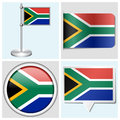 South africa flag set of sticker button label various and flagstaff Stock Images