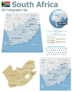 South africa maps with markers set of the political and symbols for infographic Stock Photo