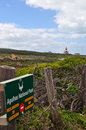 South Africa, Western Cape, Cape Agulhas, sign, lighthouse, nature reserve, landscape Royalty Free Stock Photo