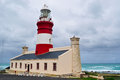 South Africa, Western Cape, Cape Agulhas, lighthouse, Ocean, stormy weather Royalty Free Stock Photo