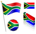 South African Flag Set Royalty Free Stock Photo