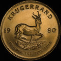 South African Gold Krugerrand Fine Gold Coin Royalty Free Stock Photo