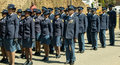 South African Police Services lined up on Parade