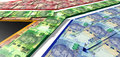 South african rand notes flag a collection of noted laid ontop of and matching the colors of the national Royalty Free Stock Image