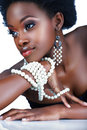 South African woman with pearls Stock Photo