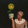 South african zulu woman basket sales woman blackboard sunflower Royalty Free Stock Photos