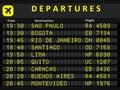 South america departures departure board destination airports busiest airports in sao paulo bogota rio de janeiro santiago lima Stock Image
