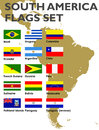 South America flags set Royalty Free Stock Photo