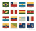 South America flags with a vintage colors Royalty Free Stock Photo