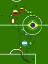 South america football map circles illustration Stock Photo