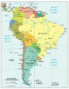 South america region political divisions map area geographical location on the globe Royalty Free Stock Image