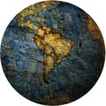 south american flags on globe map Royalty Free Stock Photo