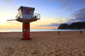 South avoca beach sunrise at southern end with lifeguard tower Stock Photography