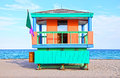 South beach miami iconic lifeguard hut on florida usa Stock Photography