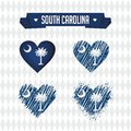 South Carolina. Collection of four vector hearts with flag. Heart silhouette