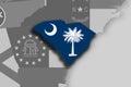 South Carolina map and flag Royalty Free Stock Photo