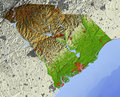 South Carolina, relief map Royalty Free Stock Images