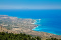 The south coast of crete with its beautiful azure lybian sea from above Royalty Free Stock Image
