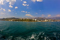South coast of crimea big yalta area view from a pleasure boat wide angle lens Royalty Free Stock Photos