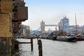 South coast thames river near tower bridge Stock Photography