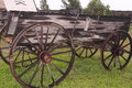 South dakota frontier farm wagon wooden parked in a town Stock Images