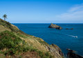 South devon coast path at dartmouth showing the mewstone rock the entrance to the dart estuary england Royalty Free Stock Images