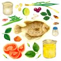 South East Asia Delicious Fish Recipe Watercolor Illustration