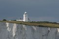 South foreland lighthouse the sits on the white cliffs of dover overlooking st margarets bay on the english channel Stock Photography